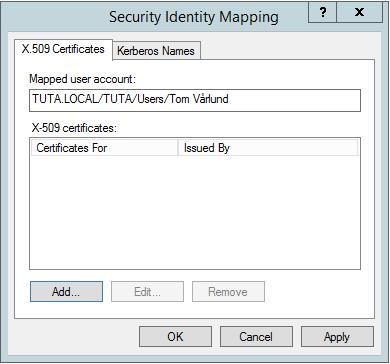 Ruta för Security Identity Mapping