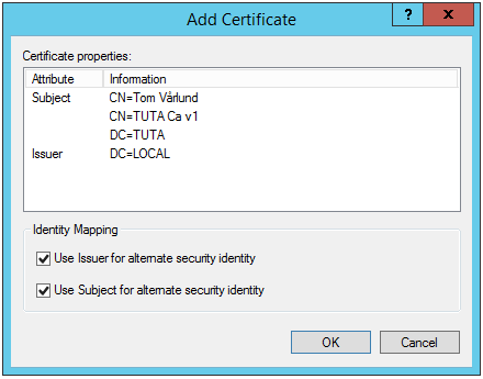 Windowsruta med certifikatsinformation