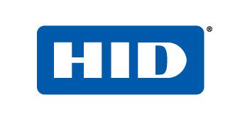 Blå och vit logotyp för HID