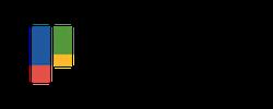 Logotyp med blå,röd och gröna staplar